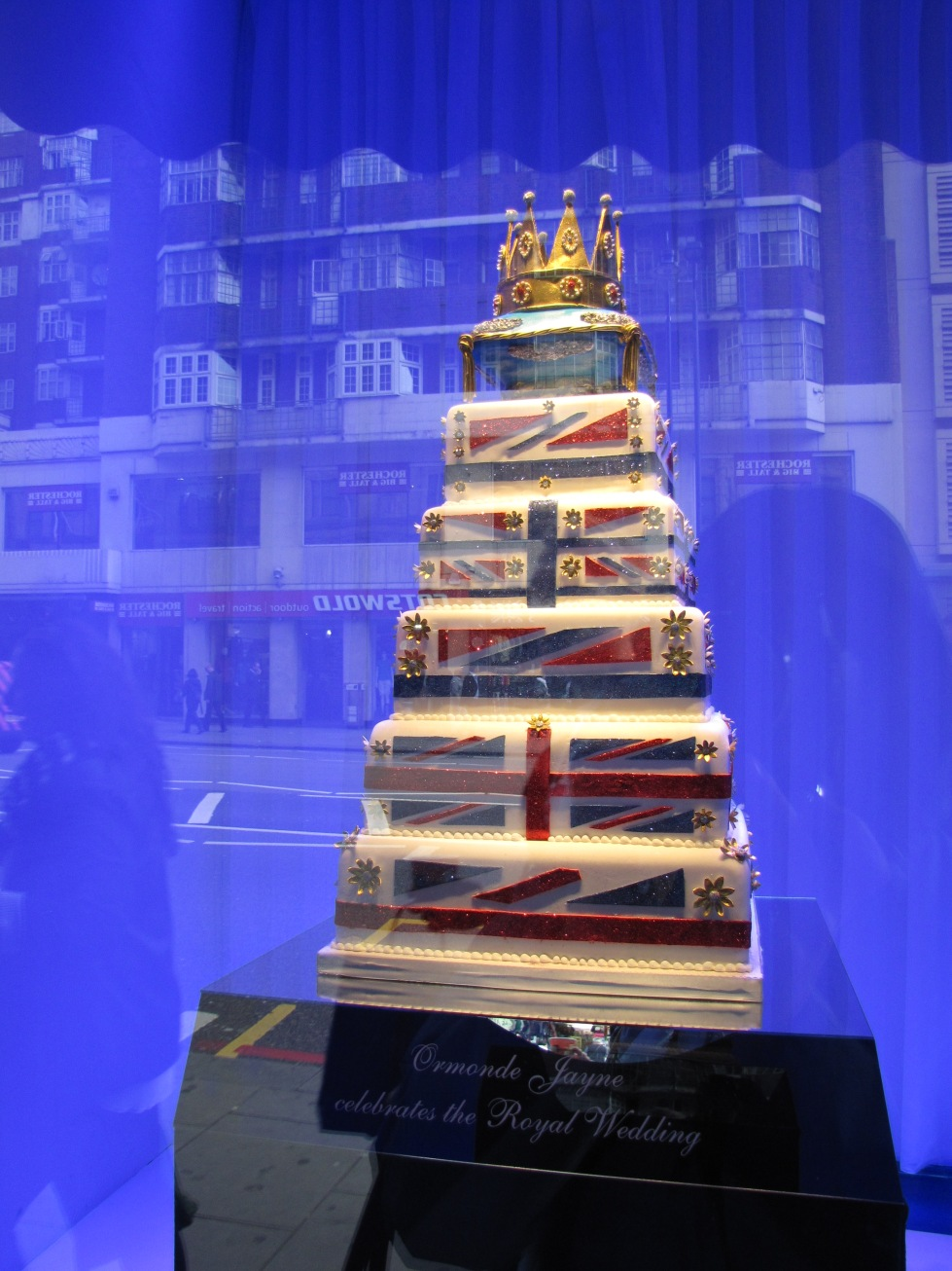 Cake on display in window of the famed Harrod's Department Store
